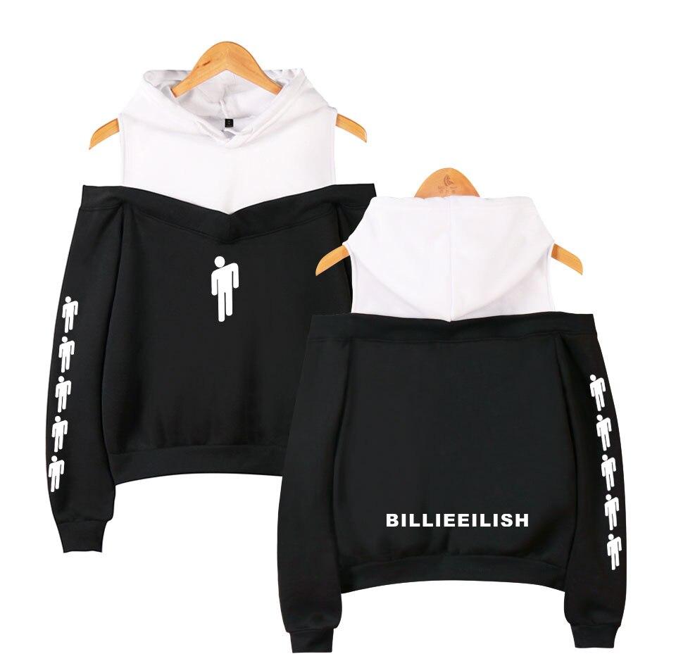 Music Singer Billie Eilish Printed Women Hoodies Sweatshirts Harajuku Streetwear Hip Hop Sexy Off Shoulder Fleece Hooded Jacket