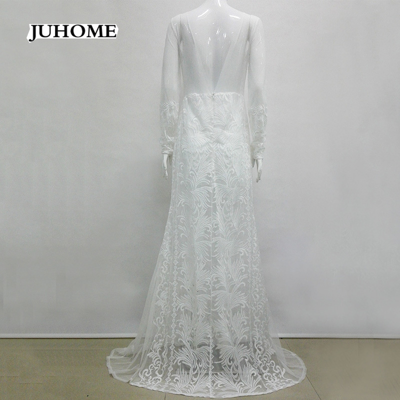 ea9222d181ed0 US $34.15 24% OFF|2018 Evening long style formal white lace dresses Wedding  event Party vestido de renda robe femme women clothing high quality-in ...