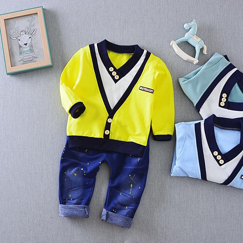 Boy Set 2017 spring new personalized children 's clothing set children' s suit false two – piece suit V – neck cowboy suit