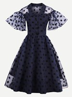 Women Dot Mesh Overlay Flare Sleeve Swing Dress Turn Down Collar  Print Lace Vintage Dress