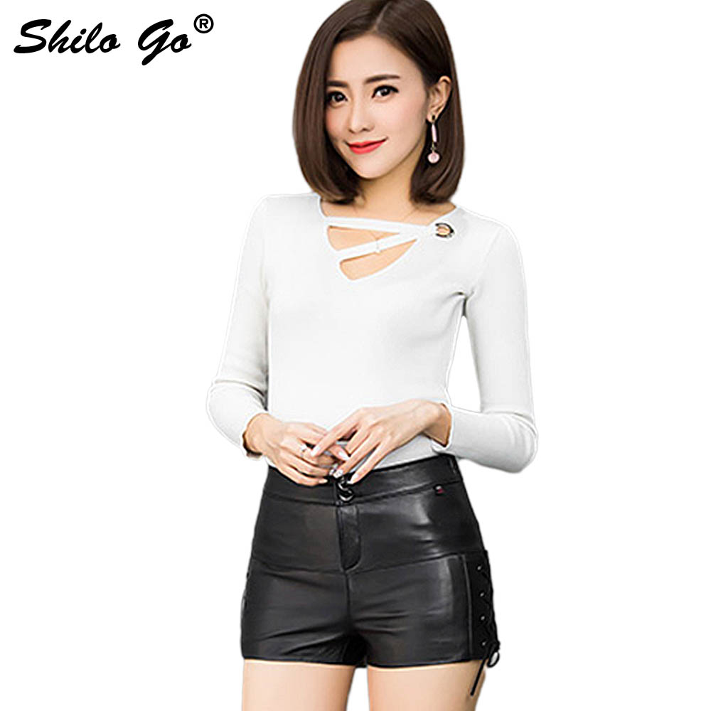Leather Shorts Womens Spring Fashion Sheepskin Genuine Leather Shorts Button Zipper Concise  Adjustable Side Shorts