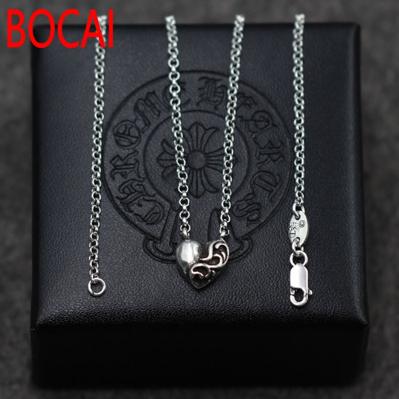 b10d1324c 925 Sterling Silver Heart Mini Pendant Necklace Chain clavicular clavicle  silver Retro Vintage Necklace