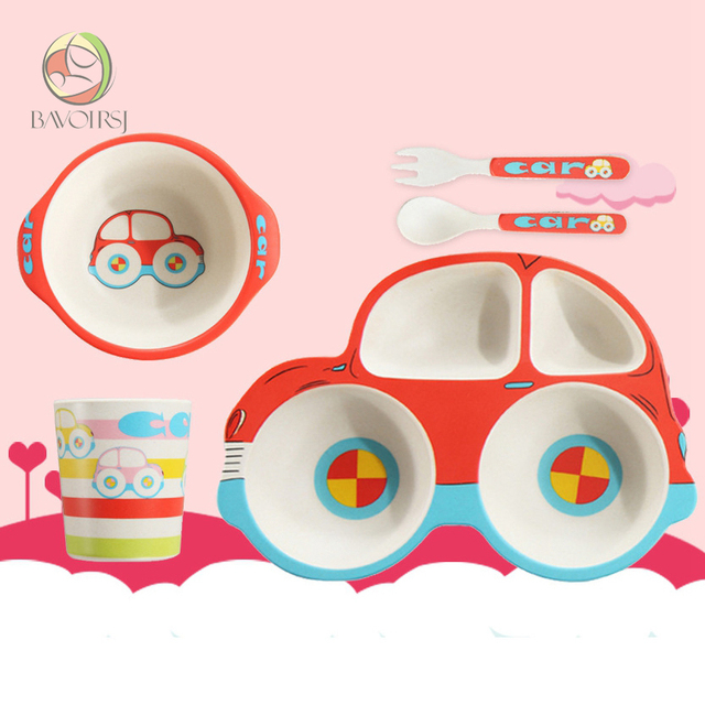 Kids Feeding Set Lunch Cartoon Safe Colorful Bamboo Fiber Bowl Dishes 3pc/lot For Baby Feeding T0036