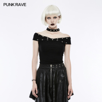 PUNK RAVE Women Casual Cotton Black T shirt Gothic Fashion Slim Fitting Halter Neck Women Punk T shirts Tops
