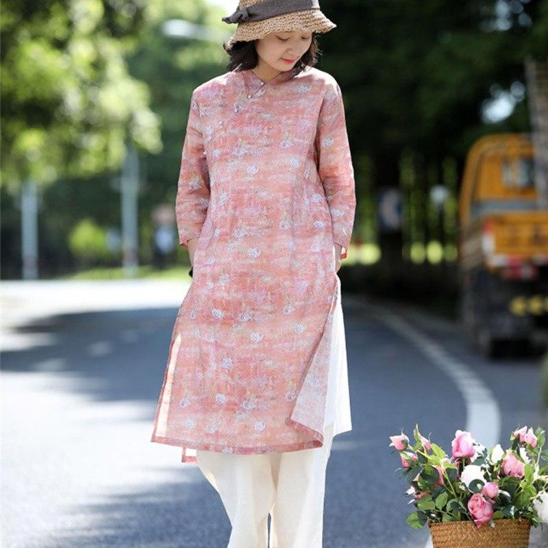 Kadın Giyim'ten Elbiseler'de SCUWLINEN 2019 Kadın Vintage İlkbahar yaz elbisesi Zen V Yaka Jade Düğme Zarif Baskı Yan Yarık Gevşek Rami pamuklu elbiseler P022'da  Grup 1