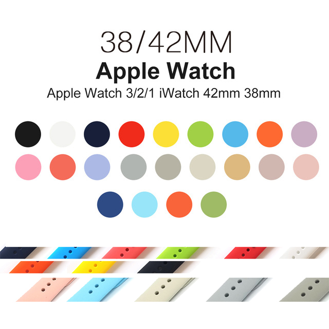 Silicon Sport Band for Apple Watch Series 321 Replacement Watch Strap for i watch iWatch Bands 42mm 44mm 40mm 38mm watchband