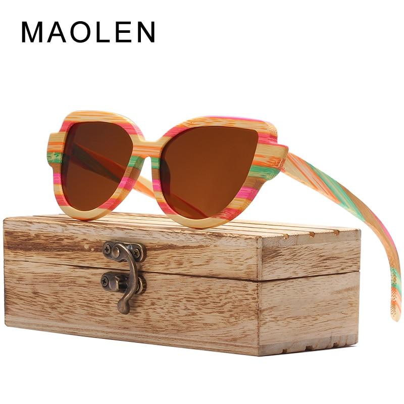 MAOLEN Bois lunettes de Soleil Femmes Coloré Bambou Cadre Cat Eye Style Lunettes Polarisées Lentilles Lunettes Vintage Design Shades UV400