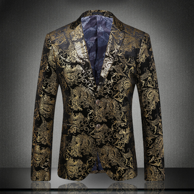 Boutique de moda masculina flannelette plano de gama alta traje de marca/Impreso hombres leisure suit Blazers tiranos Locales oro vestido de novia