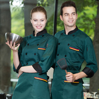 2017 Fall/Winter Restaurant Chef Clothing Double Breasted Fashion Black Red Uniform Men and Women Hotel Cheap Workwear Wholesale