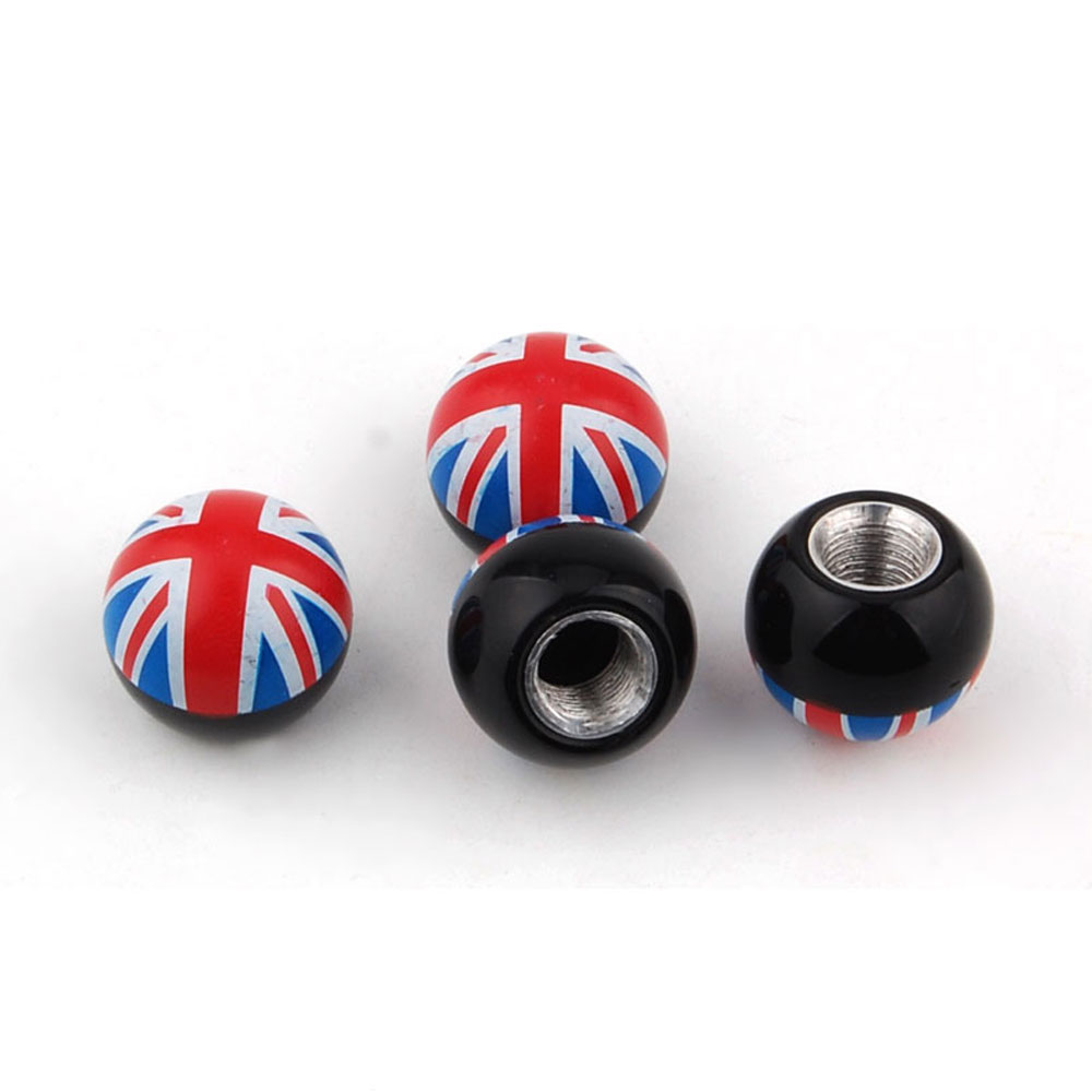 BBQ@FUKA England Flag British Flag Ball Wheel Tyre Tire Valve Stems Air Dust Cover Caps Fit For Rang Rover Accord
