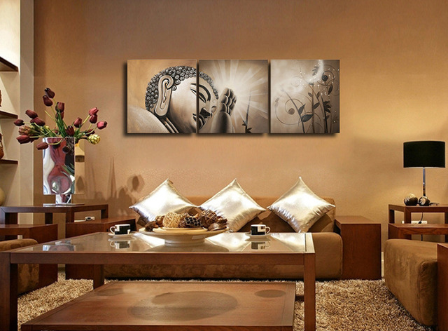 2016 Antique Buddhism Oil Paintings 3 Pieces Canvas Prints Buddha Wall  Picture For Living Room Religion Part 32