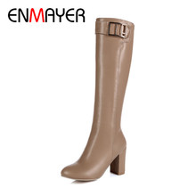 ENMAYER 2018 Women  Zipper Fashion Round Toe Winter Shoes Knee High Boots Women Shoes Square High Heel Fashion Lady Boots CY038 цена