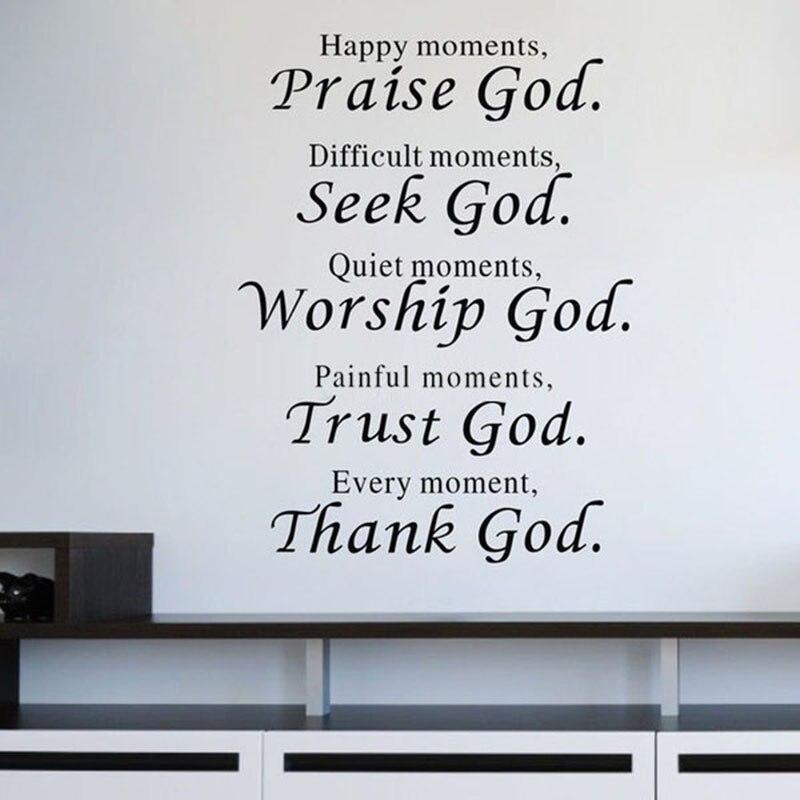 279 8 De Réduction2016 Nouveau Verset De La Bible Chaque Instant Merci Dieu Mur Citation Autocollant Salon Religieux Stickers Muraux Décor à La