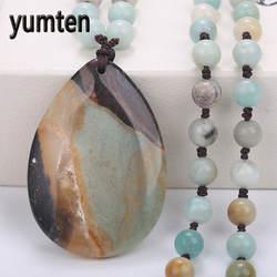 Yumten для мужчин's женщин цепочки и ожерелья Длинные натуральный Халцедон Капли воды кулон модный свитер цепи Высокая Chocker Чокер опт 5 шт