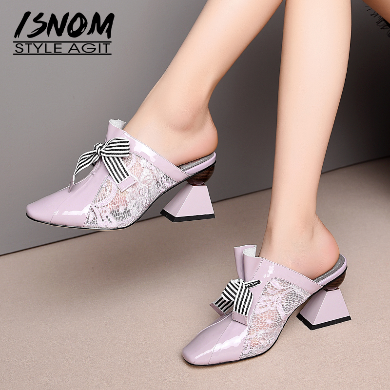 ISNOM Stripe Strange Style Pumps Women Mesh High Heels Shoes Patent Leather Shoes Female Square Toe Mules Shoes Woman Summer