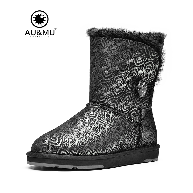 2017 Direct Selling New Arrival Fur Flat With Winter 0-3cm Round Toe Rubber Winter Boots Botas Mujer Snow Boots Aumu B370