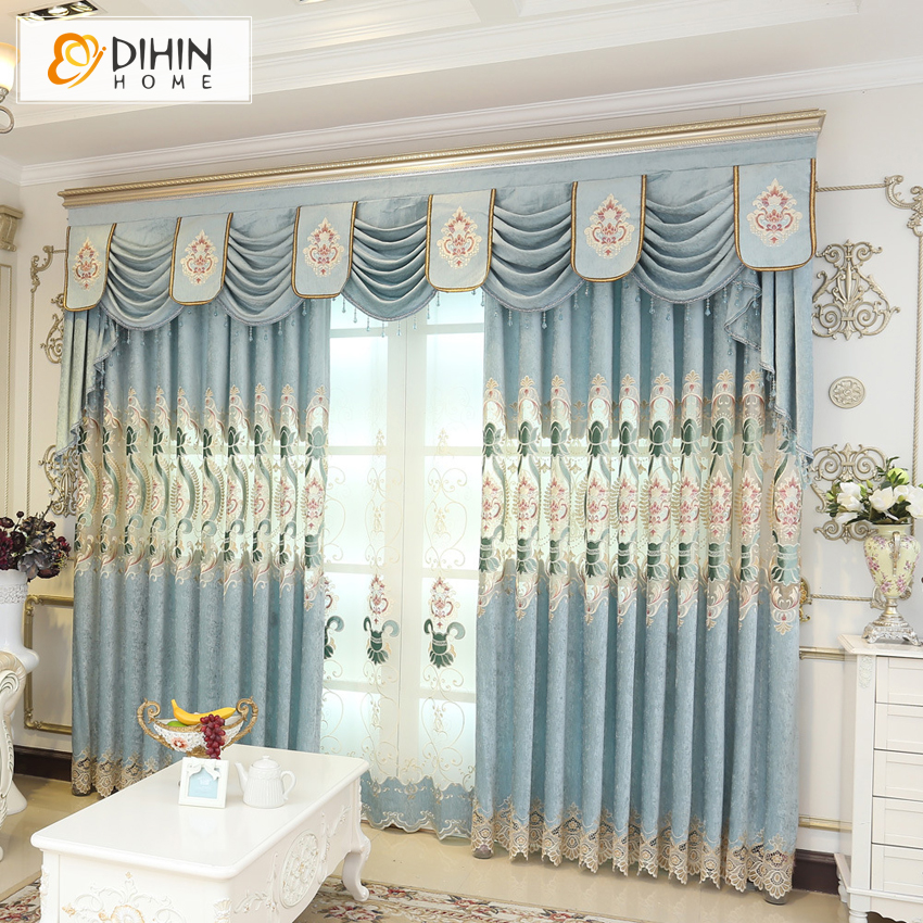 High Window Curtains: DINHIN HOME Embroidered Valance Window Curtains For Living