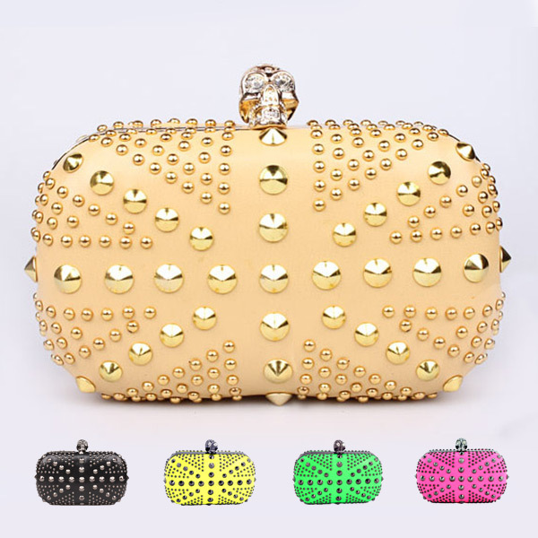 Famous Designer Luxury Gold Evening Bags Punk Style Skull Rivet Rhinestone Bolsas UK Flag Party Bag Chain Women Clutches Handbag