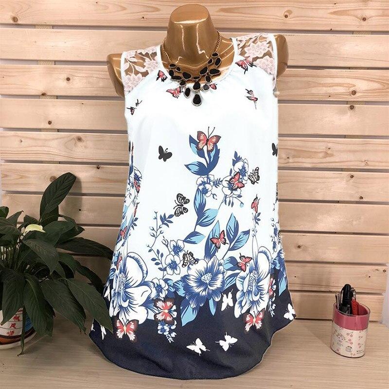 Women's Tops Floral Striped Print Vest Shirts Tank Blouse Tunic Suit Size S-5XL
