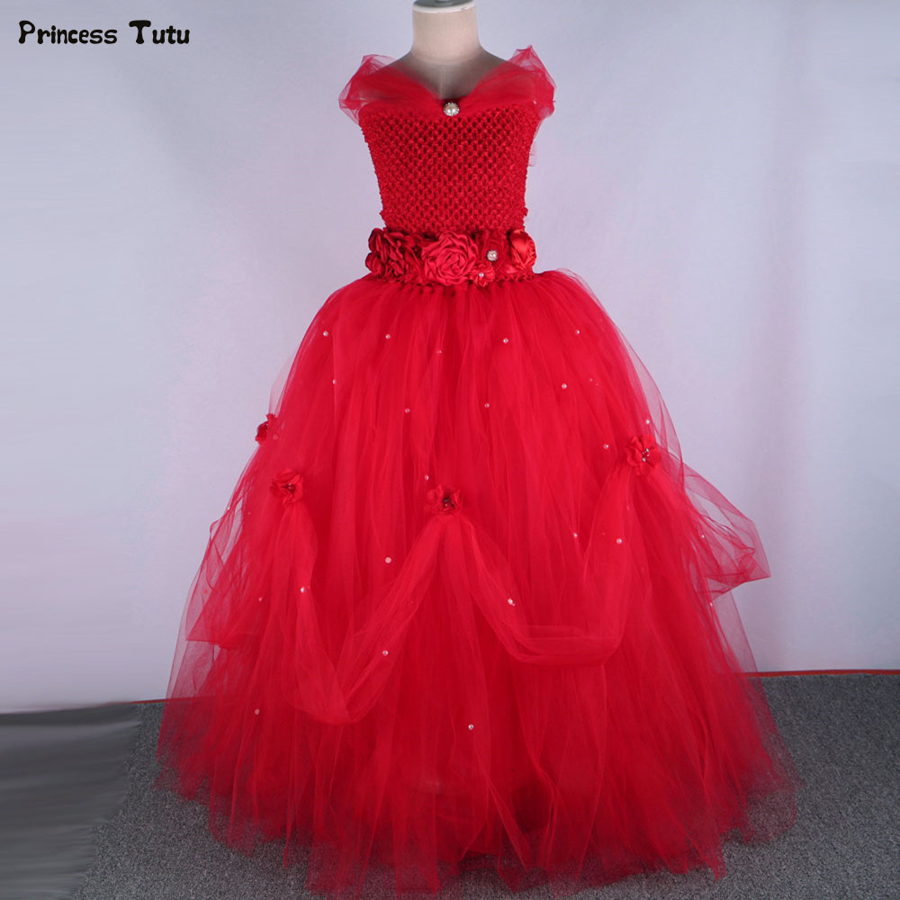 Red Tulle Flower Girl Dress Sleeveless Princess Tutu Dress Girl Kids Ball Gown Pageant Party Wedding Dress for Children 1-14Year fashionable sleeveless sequins embellish multilayered flower spliced mini ball gown dress for girl