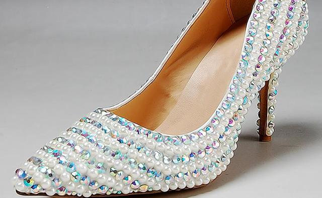ebfbf2fb3321 White pearl rhinestone wedding shoes bridal shoes pointed toe thin heels  shallow mouth high-heeled shoes elegant 8cm pearl shoes