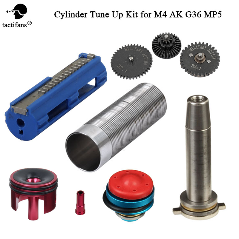Tune-Up Kit for M4/AK V.2/3 Airsoft 32:1 High Speed Gear 14 Half Tooth Piston stainless Cylinder Piston Head Spring Guide Nozzle цена