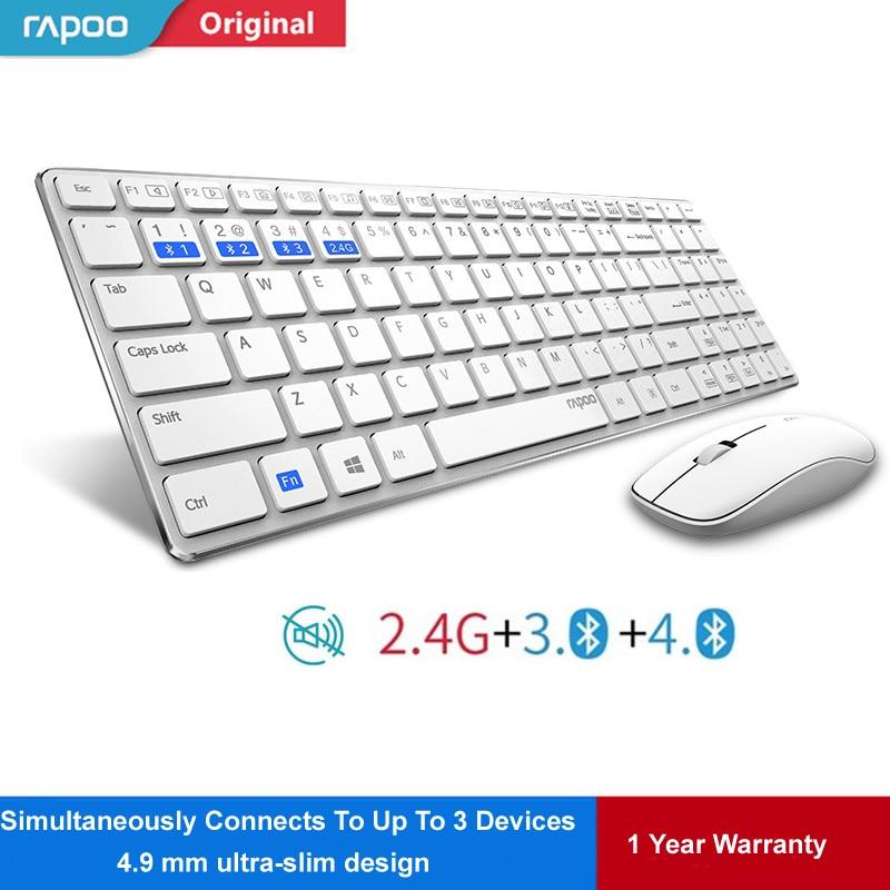 Rapoo 9300 m Multi-modo Silencioso Fino Teclado e Mouse Sem Fio Combo Bluetooth 3.0 & 4.0 interruptor de RF 2.4g entre 3 Dispositivos de Conexão