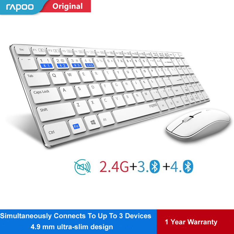 Rapoo 9300M Silent Slim Wireless Keyboard Mouse Combo Switch Between Bluetooth & 2.4G Connect 3 Devices kit Free Russian Sticker