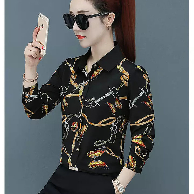 Women Spring Summer Style Blouses Shirts Lady Casual Long Sleeve Turn-down Collar Flower Printed Blusas Tops DF2700 2