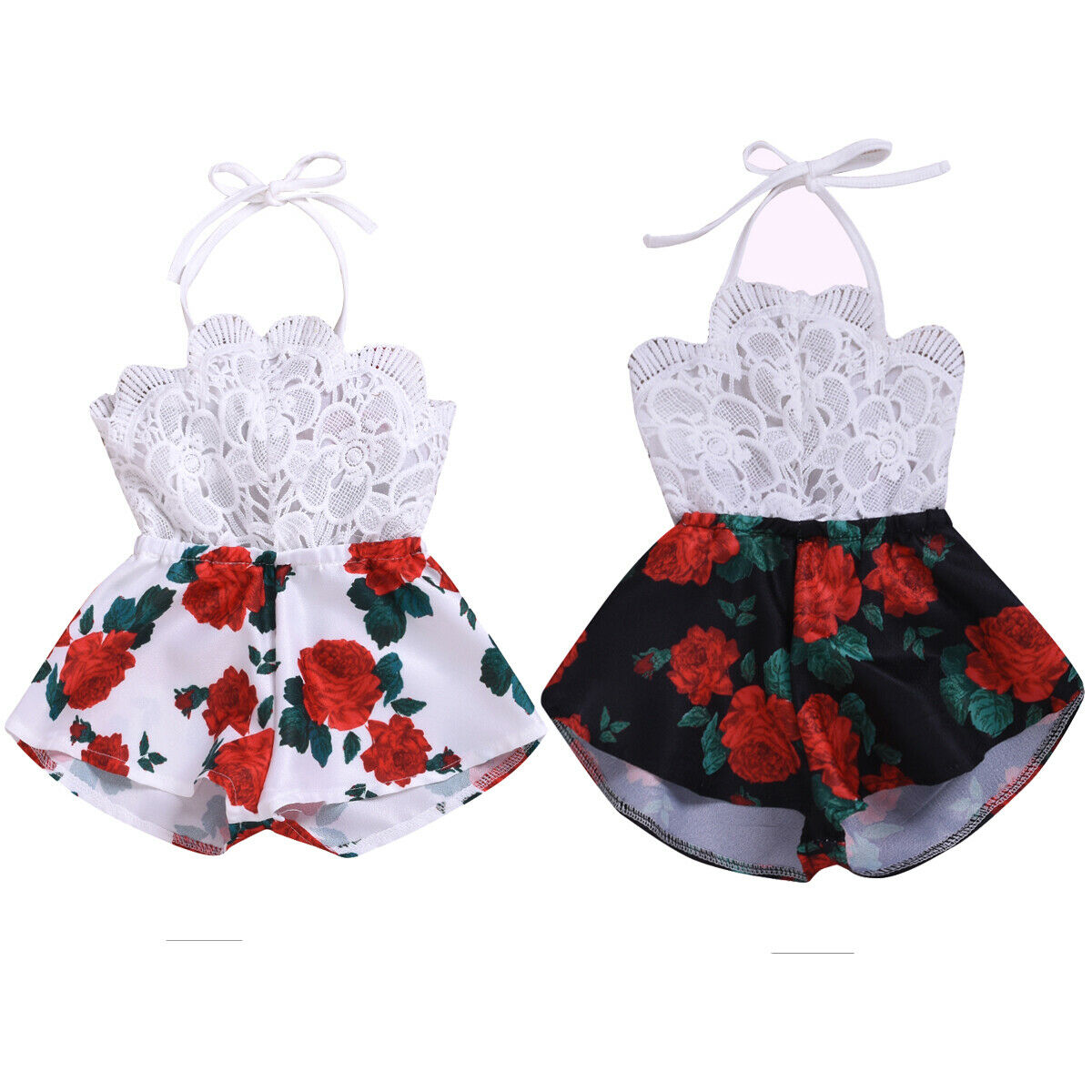0-3Y Princess Baby Girl Sleeveless Backless Lace Floral Romper Jumpsuit One Pieces Summer Clothes