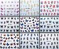 Moda DIY bonito borboleta colorida 3D Ponta Projeto Da Arte Do Prego água Etiqueta Do Prego Prego Decalque Manicure ferramentas unhas