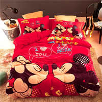 Red Flannel fleece Mickey Minnie Mouse comforter bedding sets queen size quilt cover twin 3d full bed linen coverlet Girls Kids