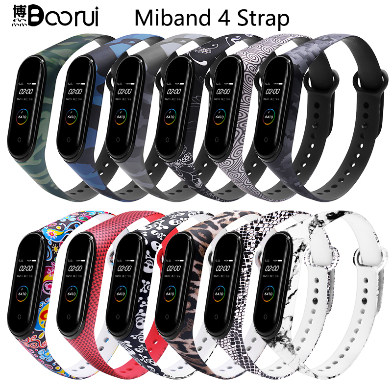 BOORUI for Xiaomi Mi Band 4 Strap Silicone printing flowers miband NFC 4 strap miband 4 accessories for xiaomi mi band 4 band-in Smart Accessories from Consumer Electronics