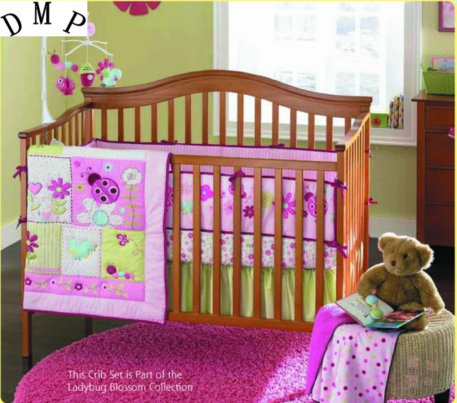 Promotion! 4pcs Embroidery baby bedding set crib baby cot sets baby bed bumper,include (bumpers+duvet+bed cover+bed skirt) full cube precut foam for case sq1284 without the hard case