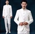 Куртка + Брюки Новый китайский стиль костюм жениха вечернее платье Мужчины вышивка стенд воротник смокинг хор производительности певица костюмы