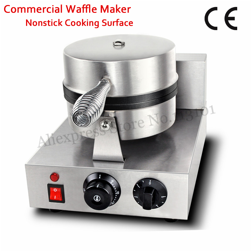 цена Single Head Electric Round Waffle Machine Commercial Waffle Baker Maker 220V/110V 1000W CE Approval