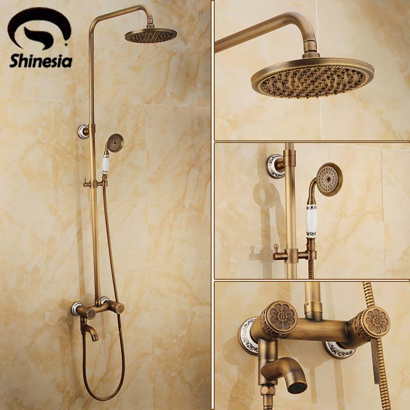 New 8 Round Shower Head W/ Carved Pattern Handheld Shower Bathroom Shower Set Faucet Antique Brass Mixer Tap Wall Mounted