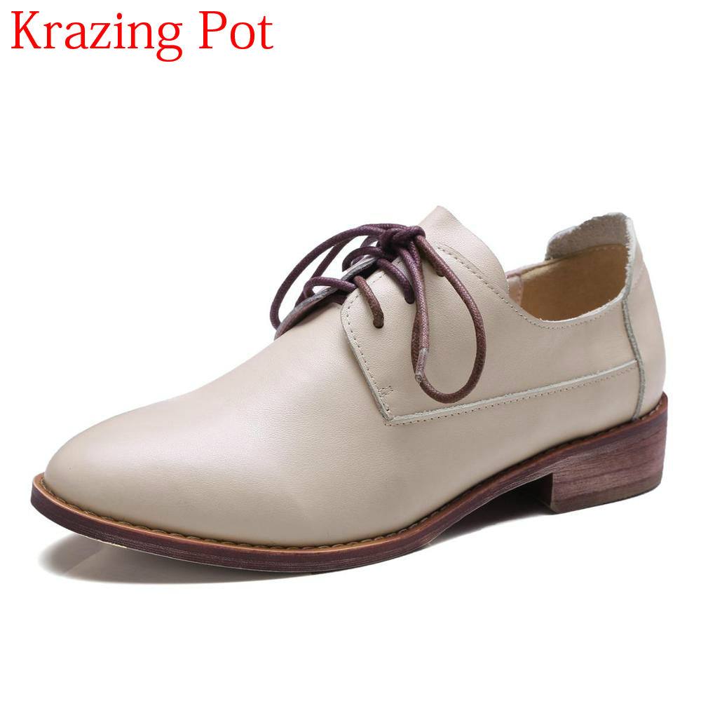 2018 New Arrivel Genuine Leather Lace Up Low Heels Runway Women Pumps Round Toe Brand Preppy Style Increased Casual Shoes L78 2017 shoes woman genuine leather flower round toe lace up preppy style med heels pumps for women young lady casual shoes l02