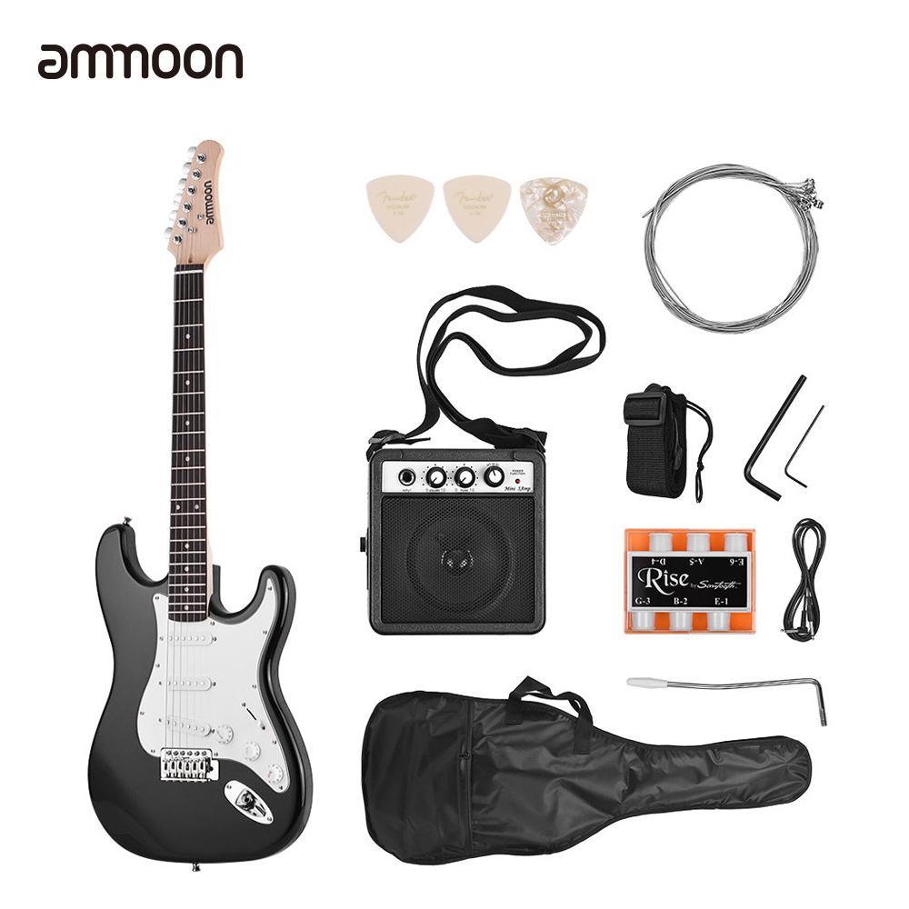 ammoon 21 Frets 6 Strings Electric Guitar Solid Wood Paulownia Body Maple Neck with Speaker Necessary