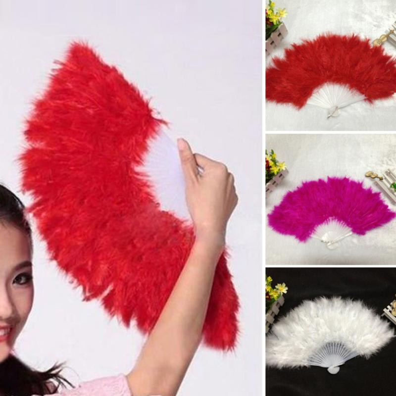 Fluffy Soft Folding Hand Feathers Held Fan Best Chinese Style Dance Wedding Party Dance Fan Gift White Red Rose Red Dance Fans