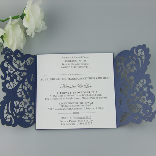 Luxury Wedding Invitations Online: 60 Personalized Engraved Pearl Royal Blue Shimmer Luxury