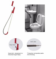 Professional Flexible Handy Toilet Auger 12 7mm 1 2 Spiral 0 9m 3ft Long Ergonomic Handle