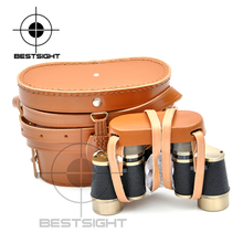 Exquisite Bronze Binoculars 6X24 with Rangefinder Reticle 145M/1000M with Cowhide Bag Delicate Gift for Outdoor Sport Lovers