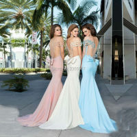 Sheer Tulle Back Sexy Mermaid Prom Dresses Hand Made Bow Back Crystal Beading Vestidos De Fiesta