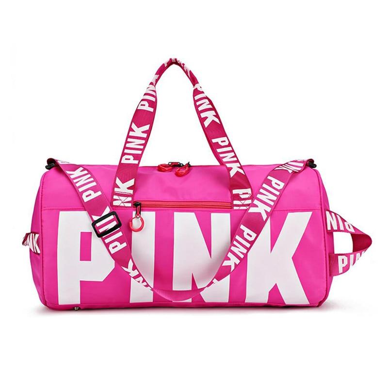 Large Capacity 2018 Ladies Black Travel Bag Pink Shoulder Bag Women Handbag Ladies Weekend Portable Duffel Bag Waterproof Wash