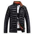 Winter Jacket Men 2016 New Pu Leather Men Stand Collar Glossy Parka Mens Jacket And Coats Casual Thick Outwear For Men