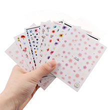 цена на 1 Sheet Nail Sticker Color flower Style Design 3D Self Adhesive Sticker Nail Decoration Tools