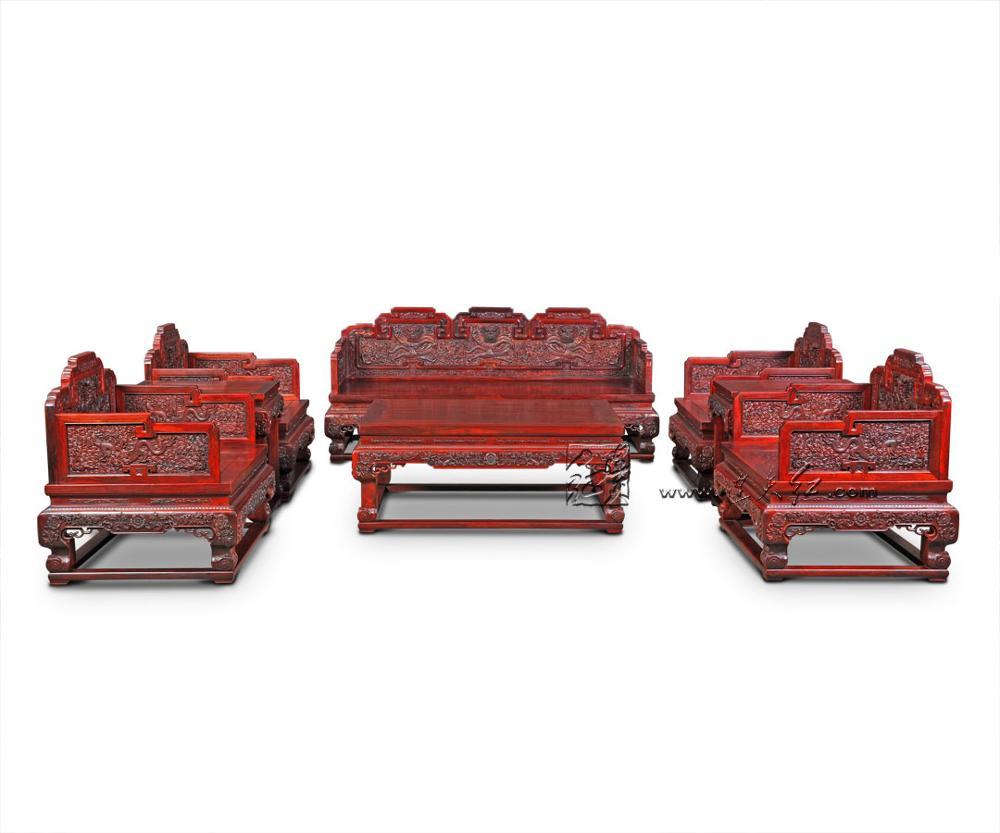4 шт. диван-кровать 1+ 3 сиденья Бирма палисандр Диван домашний отель гостиная комната набор мебели грагон трон чайный стол люксы современный - Цвет: 8 Pieces Sofa Set2