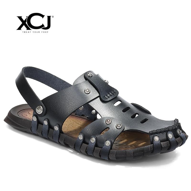XCJ Men Sandals Men Beach Shose Genuine Split Leather Brand Men Casual Shoes Men Slippers Sneakers Flip Flops Summer Shoes