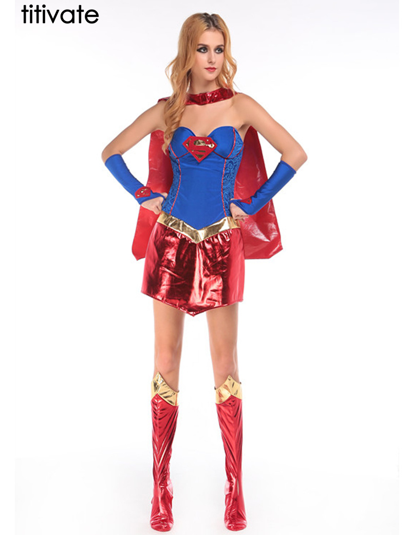titivate supergirl adult women costume women sexy halloween costumes cosplay sexy super hero adult women costume - Heroes Halloween Costumes